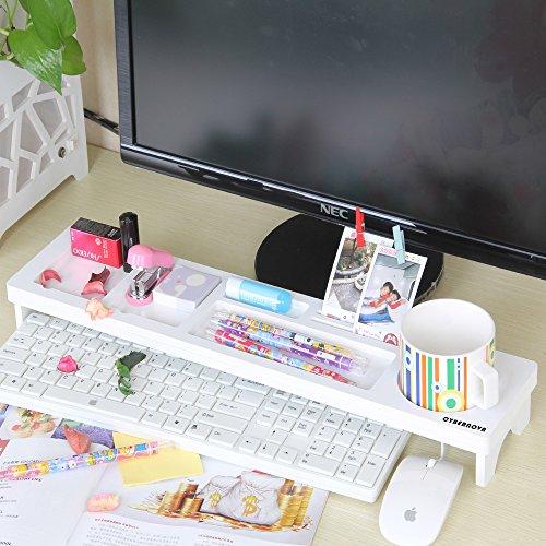 CYBERNOVA Holz Schreibtisch Organizer Kleine Objekte Storage Tastatur Ware Regal,Stauraum für Stationery Gegenstände - 2