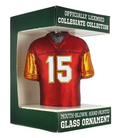 NCAA Virginia Tech Hokies #15 Glass Football Jersey Ornament by Old World Christmas