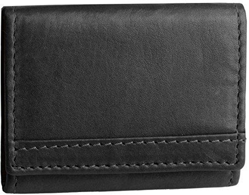 Portafoglio realizzato interamente in pelle con bottone a pressione, modello 3516, colore:Nero Nero