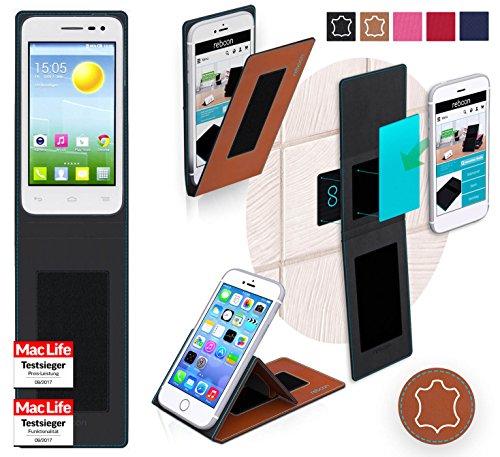 reboon Hülle für Alcatel OneTouch Pop S3 Tasche Cover Case Bumper | Braun Leder | Testsieger