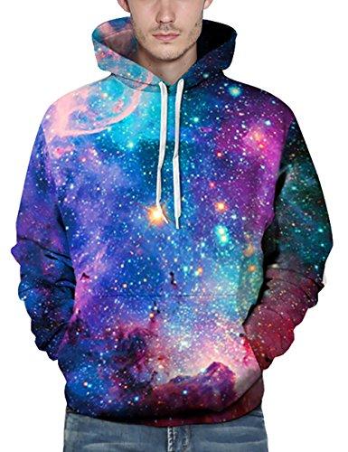 KamiraCoco Herren Kapuzenpullover 3D Druck Muster Hoodie Weihnachten Halloween Sweatshirt Pullover Bunte Sternen