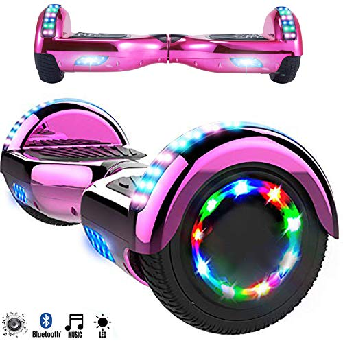 Magic Vida Skateboard Elettrico 6.5 Pollici Bluetooth Power 700W con Due Barre LED Monopattini elettrici autobilanciati di buona qualità per Bambini e Adulti(Cromo Rosa)