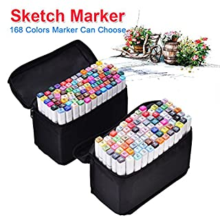 Yosoo Marker Stift Set Doppelspitze Textmarker in verschiedenen Farben für Zeichnen und Malen (Universal, 168 Farben)