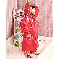 hibote Cartoon Animal Shapes Children Raincoat Kids Poncho 90cm-130cm (Strawberry)