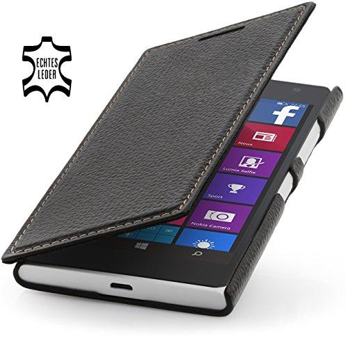 StilGut Book Type Case, Hülle aus Leder für Nokia Lumia 730 und Lumia 735, schwarz