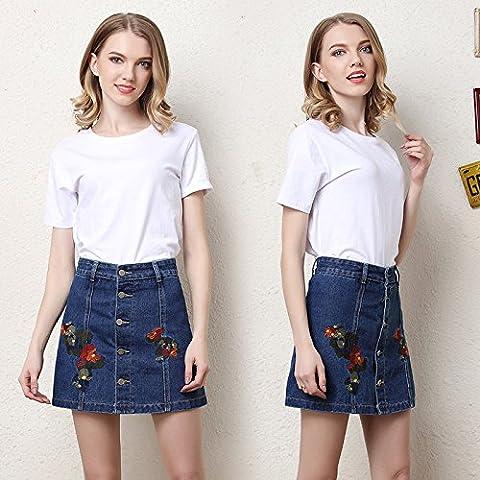 CU@EY Broderie femmes Pantalons short en jean bleu foncé,jupe,3XL