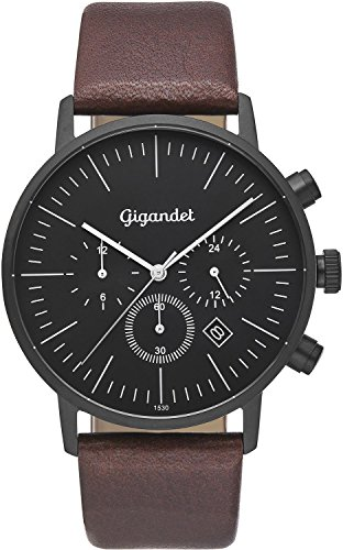 Gigandet cuarzo reloj de pulsera para hombre Minimalism III Dual Tiempo Reloj Fecha Analógico Pulsera de piel Negro Marrón G22–004
