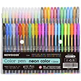 Newdoer - Lote de 48 bolígrafos de tinta de gel para colorear, ideal para adultos (punta de 1,0mm, 12 de colores metálicos, 12 de colores con purpurina, 12 de colores neón y 12 de colores pastel)