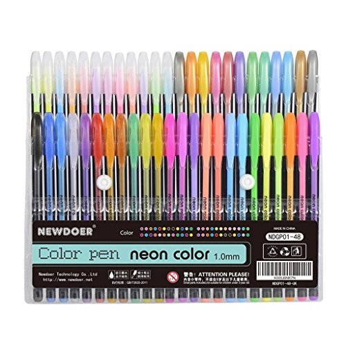 newdoer-48-packs-color-gel-ink-pensthe-best-gel-pens-set-for-adult-colouring-booksdrawand-writewith-