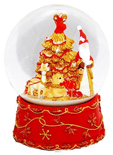 Schneekugel Weihnachtsmann mit Spieluhr, rot, groß - 20023