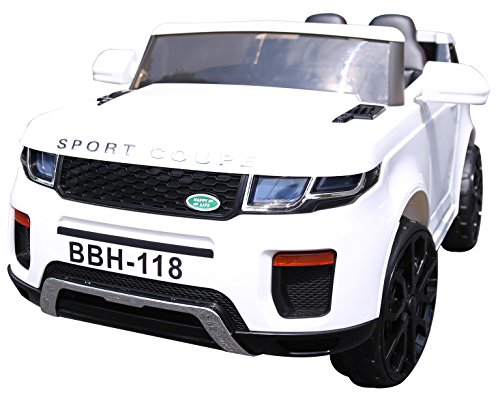 Turbo 12v Range Rover Style Evoque Ride on Jeep Car with Parental Remote Control (WHITE)