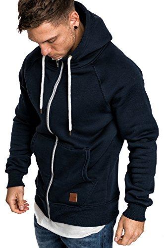 Amaci&Sons Herren Zipper Kapuzenpullover Sweatjacke Pullover Hoodie Sweatshirt 4026 Navyblau L