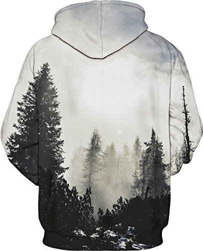 YuanYan Herren Lose Fit Hoodie - Langarm 3D Druck Muster Kapuzenpullover Sweatshirt Pullover Oversize für Herbst und Winter Forst