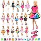 Miunana 60 Pezzi: 20 PCS Abiti Vestiti, 20 PCS Scarpe E 20 Appendini Alla Moda Fashion Selezionati A Caso Per Barbie Dolls Principessa, Holiday Doll Ed Altre Bambola