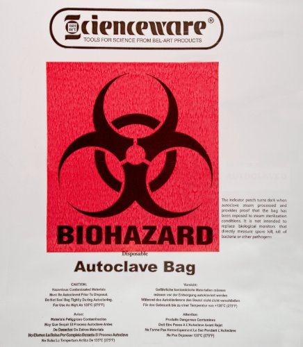 Bel-Art Products 131600009 Biohazard Waste Disposal Bag with Warning Label and Sterilization Indicator Patch, 1 to 3 gal Capacity, Polypropylene, 12