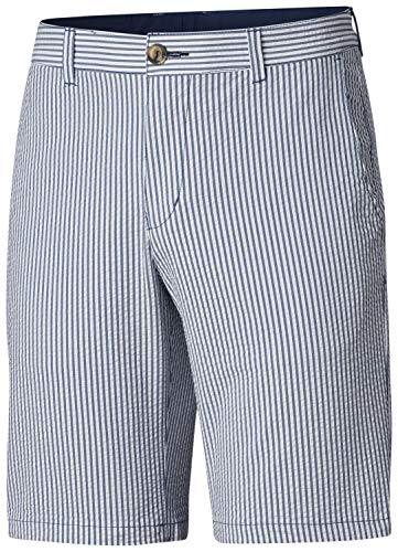 Columbia Men's Super Harbor Side Chino Shorts, Size 42 x 6, Carbon Seersucker Stripe -