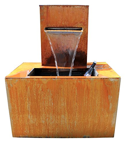 Erlebnisbrunnen AQUABOX Palatino aus Corten komplett inkl. Pumpe und Einstellwanne