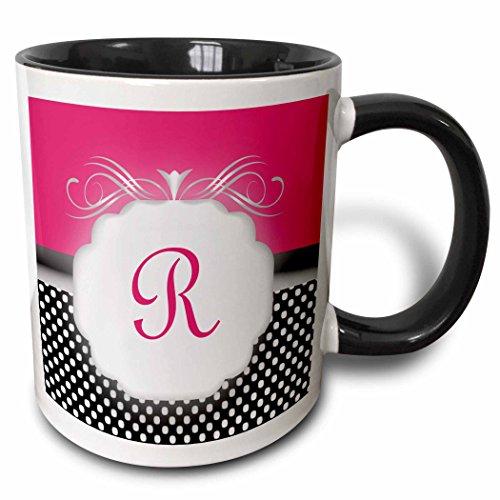 3dRose Elegante Pink mit Schwarz und Weiß Polka Dot Monogramm Buchstabe R-Zwei Ton Schwarz Tasse, 313ml (Tasse 113857_ 4), schwarz/weiß (Polka Tassen Dot Und Weißen Schwarzen)