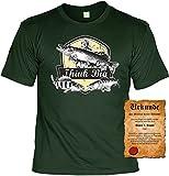 Mein Fang ist einfach der größte Think T-Shirt mit Angler Besitz-Urkunde Gr: 3XL Farbe: dunkelgrün