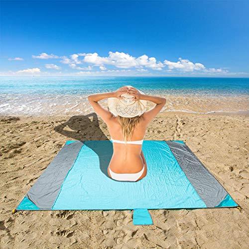 Minetom Picknickdecke Stranddecke wasserdichte Sandabweisende NylonTragbare Camingmatte Matte mit 4 Pfosten Ideal für Strand, Picknick und Camping 250X210CM
