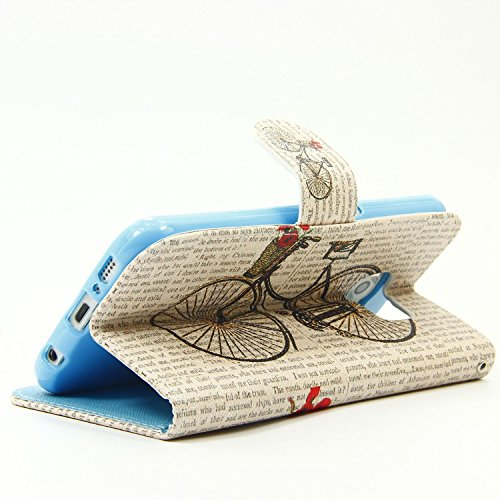 Cozy Hut Schutzhülle / Cover / Hülle / Handyhülle / Etui für Samsung Galaxy S6 Bunt Muster Design Folio PU Leder Tasche Case Cover im Bookstyle mit Standfunktion Kredit Kartenfächer mit Weich TPU Inne Fahrrad
