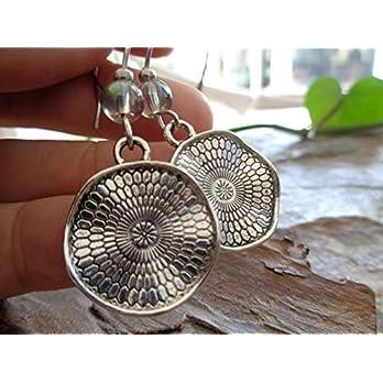 ✿ REGENBOGEN BOHO ETHNO MANDALA GLAS ✿ lange Haken Ohrringe – einmaliges Geschenk – handgefertigt