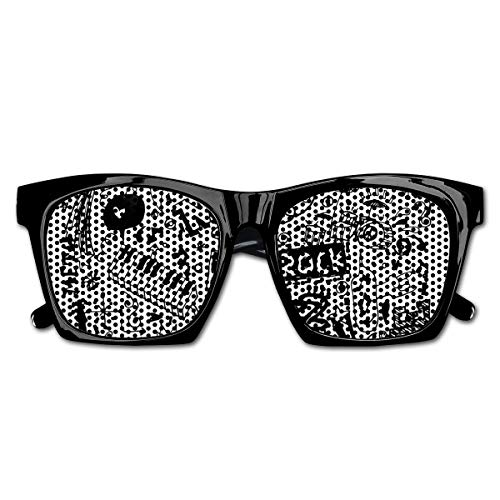 Vogue Vintage Rock (EELKKO Mesh Sunglasses Sports Polarized, Music Themed Motif with An Abstract Drawing Rock Jazz Blues Genre Classic Dancing,Fun Props Party Favors Gift Unisex)