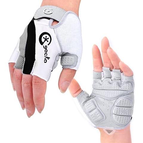 Cgecko speciale anti-riflesso, anti-urto, in Gel per Mountain Bike Half Finger, Guanti per sport Outdoor guanti-Guanti corti da ciclismo, nero, L