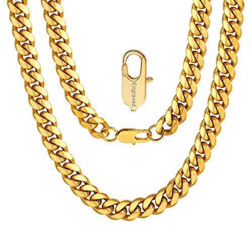 ChainsPro Personalisierte Geschenke, 10mm Breite Edelstahl Halskette Panzerkette Kette Link Silber Ton Herren