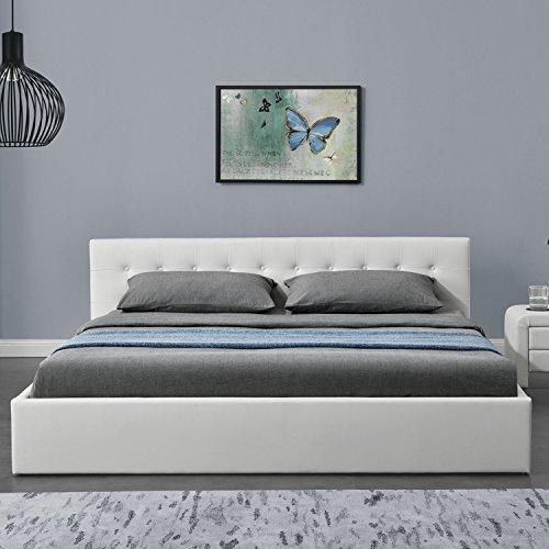 ArtLife Polsterbett Marbella – 180 x 200 cm – Weiß mit Lattenrost & Kaltschaummatratze