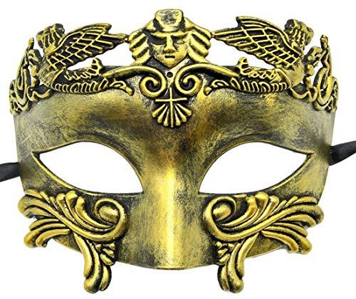 Flywife Herren Maskerade Maske Römisch Griechisch Party Maske Mardi Gras Halloween Maske (Antique Gold)