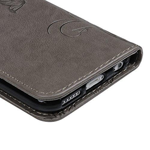 MAXFE.CO Lederhülle Leder Tasche Case Cover für iPhone 6/iPhone 6SHülle PU Prägung Muster Schutzhülle Flip Cover Wallet im Bookstyle mit Standfunktion Karteneinschub und Magnetverschluß-Grau Grau