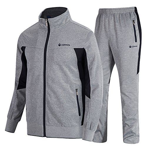donhobo Herren Jogginganzug Trainingsanzug Sportanzug Fußball Sporthose Hoodie Hose für Gym Warm Tracksuit(02Grau,XL) -