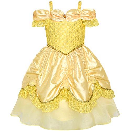 Mädchen Kleid Gelb Prinzessin Belle Kostüm Gr. 122