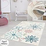 Kinderzimmer Teppich Mädchen Jungen | Fröhliche Schmetterling Sterne Blumen Motive fürs Jugendzimmer | Öko Tex 100 Schadstoffgeprüft (Blumen - 120 x 170 cm)