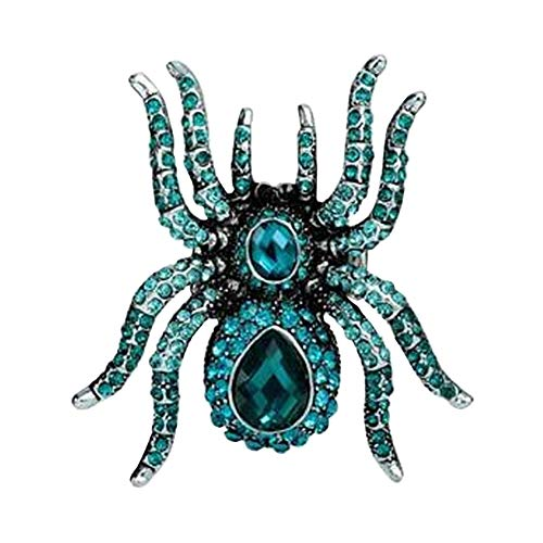 Fengteng Damen Retro Blaue Kristallspinne Stretch Ringe Gothic Insect Schmuck (Womens Holloween Kostüm)