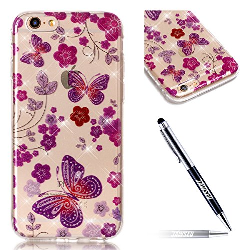 iPhone 6S Plus Hülle,iPhone 6 Plus Hülle,JAWSEU Bling Glitzer Shiny Mermaid Muster Crystal Klare Ultradünne Silikon Gel Schutzhülle Durchsichtig Kristall Transparent Bling TPU Silikon Bumper Schutz Ha Rot Schmetterling