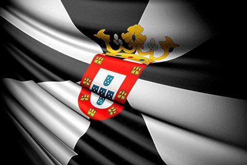 Bandera de La Comunidad de Ceuta 85x150cm | Reforzada y con Pespuntes| Bandera de La Comunidad de Ceuta Con 2 ojales Metálicos