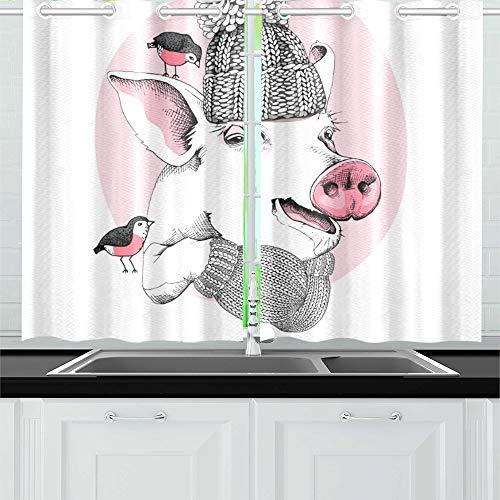 JOCHUAN Weihnachtskarte Porträt Schwein Strickmütze Küchenvorhänge Fenster Vorhangebenen für Café, Bad, Wäscherei, Wohnzimmer Schlafzimmer 26 X 39 Zoll 2 ()