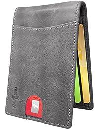 FreeHaveFun RFID Schutz Echtleder Geldklammer für Damen u. Herren | NFC Slim Wallet Geldbörse | dünne Brieftasche | Portemonnaie m. Kreditkartenetui | Blocker Geldbeutel | Kreditkartenhalter Portmonee