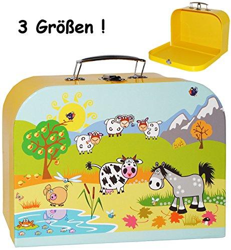 alles-meine.de GmbH 1 Stück _ Kinderkoffer / Koffer - MITTEL -  Bauernhof / Tiere  - ideal für Spielzeug und als Geldgeschenk - Mädchen & Jungen - Kinder & Erwachsene - Pappe K..