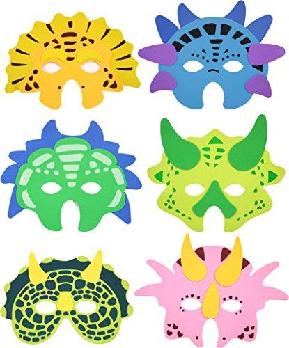 (6 Masken * DINOSAURIER * für Kindergeburtstag oder Motto-Party // Schaumstoff Maks Party Deko Dekoration Kinder Geburtstag Birthday Dino Triceratops T-Rex)