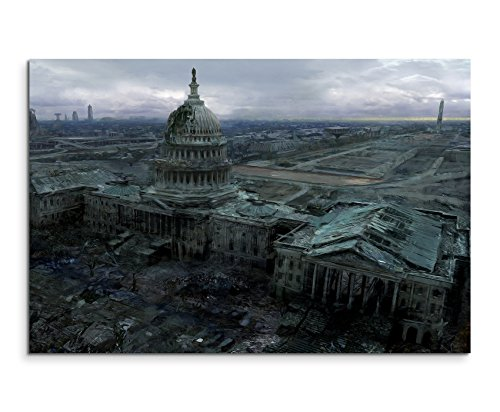 fallout bilder Fallout 3 Capitol Building Wandbild 120x80cm XXL Bilder und Kunstdrucke auf Leinwand