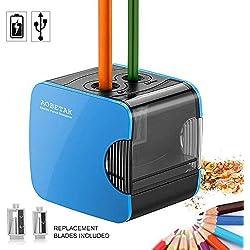 Sacapuntas Eléctricos con Deposito USB y Con Pilas, Heavy Duty Sacapuntas Automáticos, Hoyo Doble Sacapuntas Profesional para Lápiz de Color y Nº 2 de AOBETAK