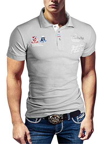 Polo New Poloshirt T-Shirt Shirt Hemd Party Slim Herren Kurzarm Pique Wow, Farbe:Hellgrau, Größe:S -