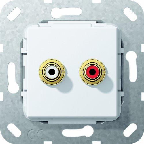 Preisvergleich Produktbild Gira 563203 Cinch Audio Lötanschluss Einsatz, reinweiß