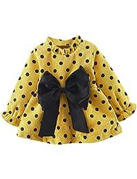 2721a0139f Elecenty Abbigliamento per Bambina Elegante Manica lunga neonata appena  nata Dot Bowknot Princess Dress Clothes Outfits