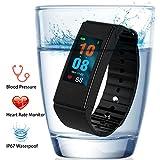 Fitness tracker, Funbot Smart Bracelet IP67étanche fréquence cardiaque pression artérielle et sang oxygène moniteur et moniteur de sommeil podomètre Compteur de calories Smart Bandes d'activité tracker pour Android et iOS, T2 P