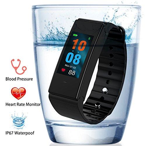 Fitness Tracker, FUNBOT IP67 Wasserdichte Smart Fitness Armbänder mit Pulsmesser & Blutdruckmessgerät, Schrittzähler, Schlafüberwachung, Kalorienzähler, Entfernungsmesser, Aktivitätstracker für Android und iOS