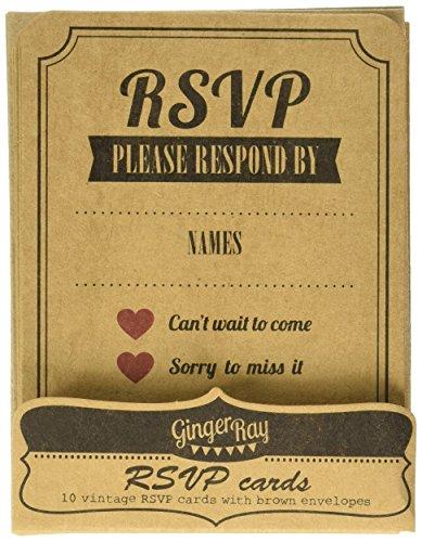 Ginger Ray Vintage Affäre Kraft RSVP Hochzeits-Karten/Einladungen, Braun